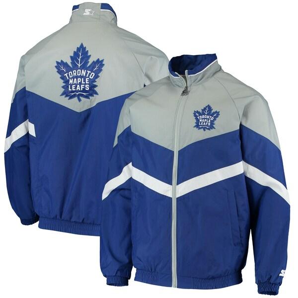 NHL メープルリーフス ジャケット/アウター ベンチ コーチ ラグラン フルジップ スターター/Starter Blue/Gray