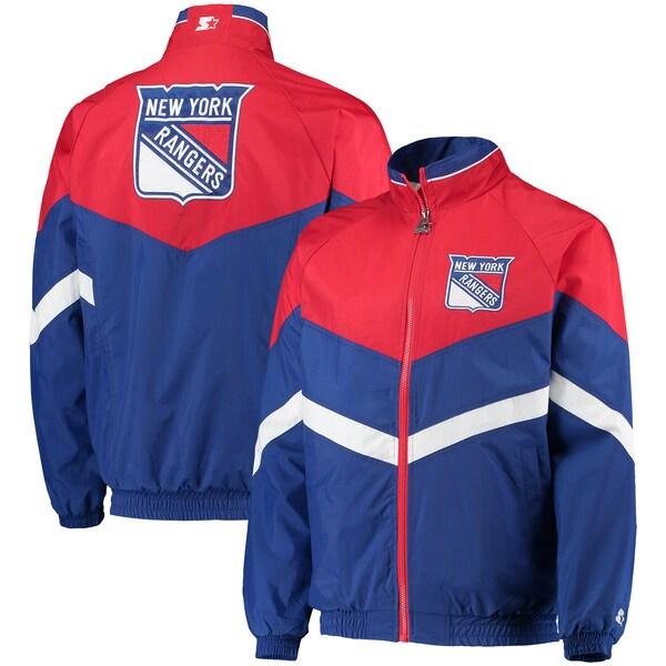 NHL レンジャース ジャケット/アウター ベンチ コーチ ラグラン フルジップ スターター/Starter Blue/Red