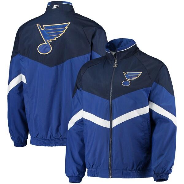 NHL ブルース ジャケット/アウター ベンチ コーチ ラグラン フルジップ スターター/Starter Blue/Navy