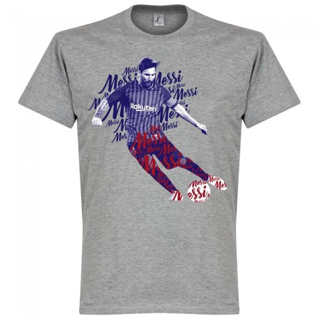送料無料 店内全品対象 激安 お買い得 キ゛フト サッカー界のスター選手が勢揃い グラフィックTシャツ SOCCER リオネル メッシ スクリプト Tシャツ FCバルセロナ RETAKE グレー