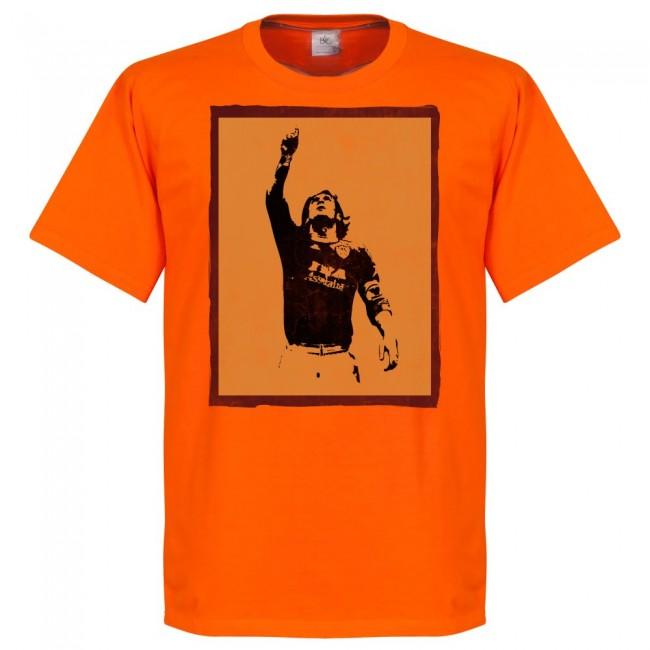 サッカー界のレジェンド選手が蘇る グラフィックTシャツ 激安超特価 SOCCER フランチェスコ トッティ オレンジ RETAKE シルエット 有名な ASローマ Tシャツ