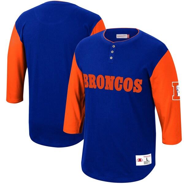 NFL ブロンコス Tシャツ フランチャイズ 3/4スリーブ ヘンリーネック ミッチェル&ネス/Mitchell & Ness ロイヤル