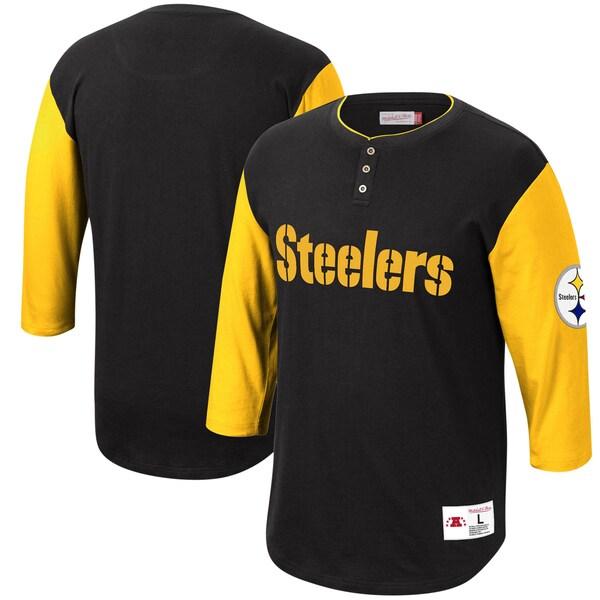 NFL スティーラーズ Tシャツ フランチャイズ 3/4スリーブ ヘンリーネック ミッチェル&ネス/Mitchell & Ness ブラック