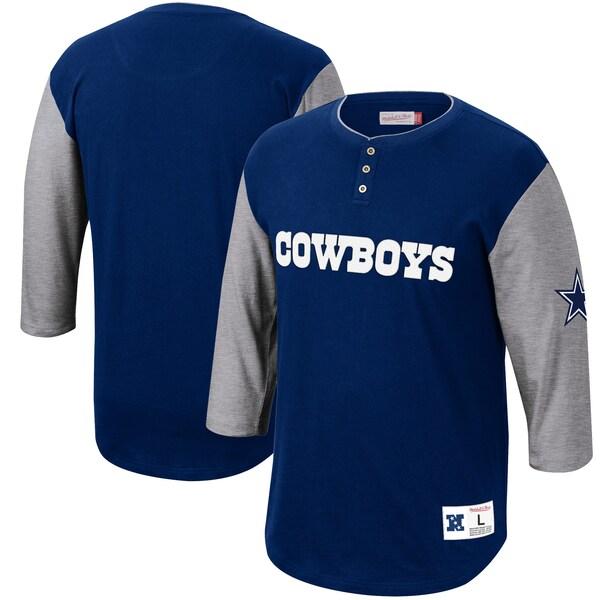 NFL カウボーイズ Tシャツ フランチャイズ 3/4スリーブ ヘンリーネック ミッチェル&ネス/Mitchell & Ness ネイビー