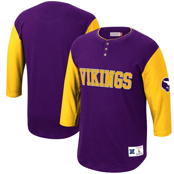 NFL バイキングス Tシャツ フランチャイズ 3/4スリーブ ヘンリーネック ミッチェル&ネス/Mitchell & Ness パープル