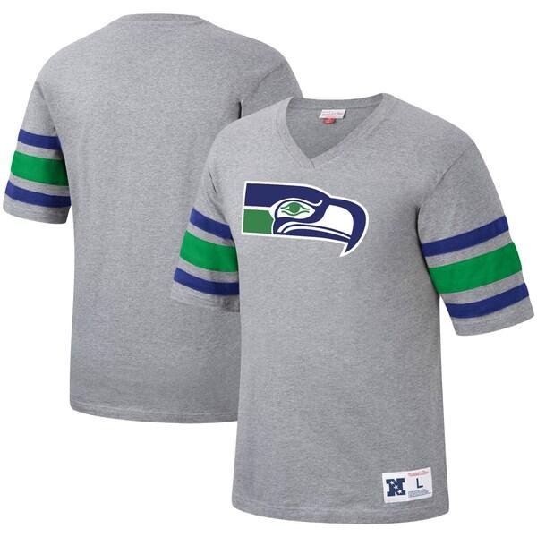 NFL シーホークス Tシャツ ポストシーズン ラン Vネック ミッチェル&ネス/Mitchell & Ness ヘザーグレー