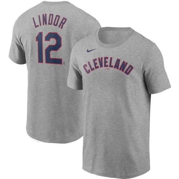 MLB フランシスコ・リンドール クリーブランド・インディアンス Tシャツ ネーム & ナンバー ナイキ/Nike グレー