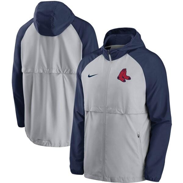 MLB ボストン・レッドソックス ジャケット/アウター メッシュ ロゴ エッセンシャル フルジップ フーディー ナイキ/Nike グレー