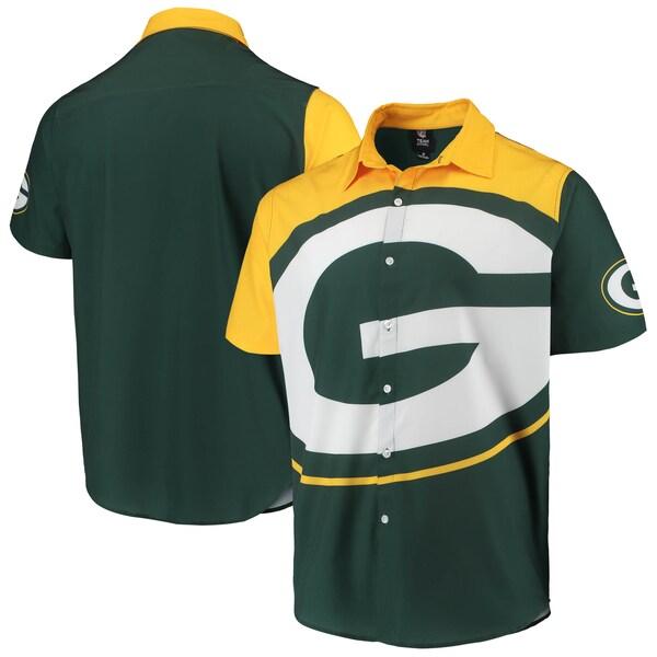 NFL パッカーズ ビッグ ロゴ ボタンアップ シャツ FOCO グリーン