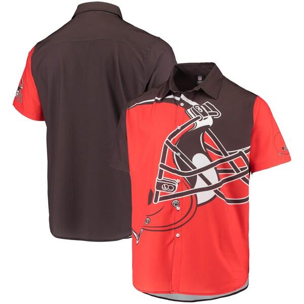 NFL ブラウンズ ビッグ ロゴ ボタンアップ シャツ FOCO オレンジ