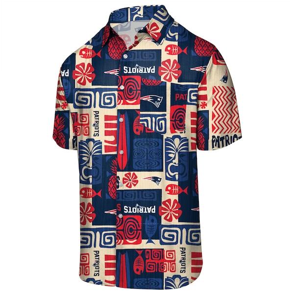 NFL ペイトリオッツ フローラル ボタンアップ シャツ アロハ ハワイアン FOCO ネイビー