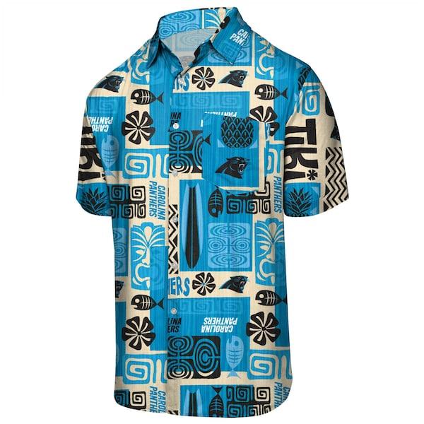 NFL パンサーズ フローラル ボタンアップ シャツ アロハ ハワイアン FOCO ブルー