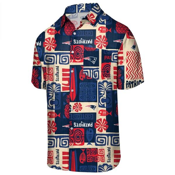 NFL ペイトリオッツ ティキ フローラル ボタンアップシャツ アロハ ハワイアン FOCO ネイビー