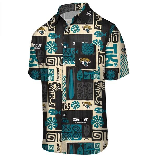 NFL ジャガーズ ティキ フローラル ボタンアップシャツ アロハ ハワイアン FOCO ブラック