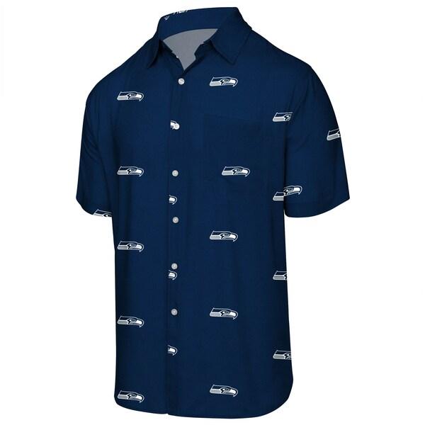 NFL シーホークス ミニプリント ロゴ ボタンアップシャツ FOCO カレッジネイビー