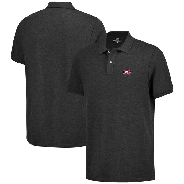 NFL 49ers Stretch Pique Team Polo ポロシャツ Vineyard Vines ヘザーチャコール