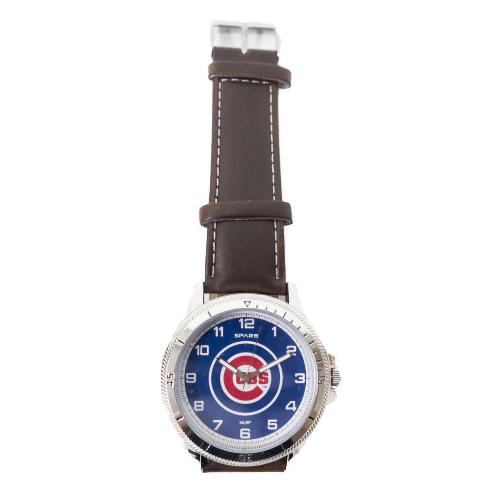 あす楽対応 MLBチーム レザー調ベルトウォッチ MLB シカゴ カブス レザーバンド 腕時計 チームロゴ Sparo 超歓迎された ウォッチ 再再販