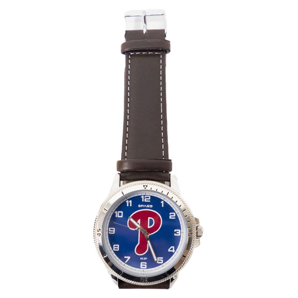 あす楽対応 MLBチーム レザー調ベルトウォッチ MLB フィラデルフィア フィリーズ Sparo 超美品再入荷品質至上 腕時計 レザーバンド チームロゴ 日本メーカー新品 ウォッチ