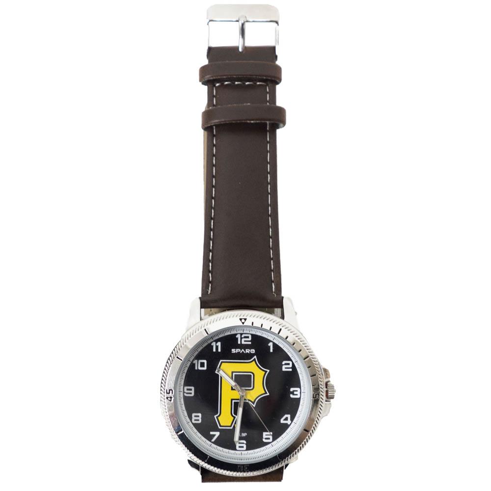 あす楽対応 MLBチーム レザー調ベルトウォッチ MLB 未使用品 ピッツバーグ パイレーツ チームロゴ Sparo 腕時計 ウォッチ レザーバンド 超特価