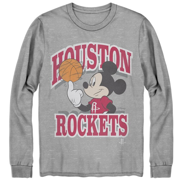 NBA ヒューストン・ロケッツ Tシャツ ディズニー ミッキーマウス Disney Mickey Team Spirit Long Sleeve T-Shirt Junk Food グレー