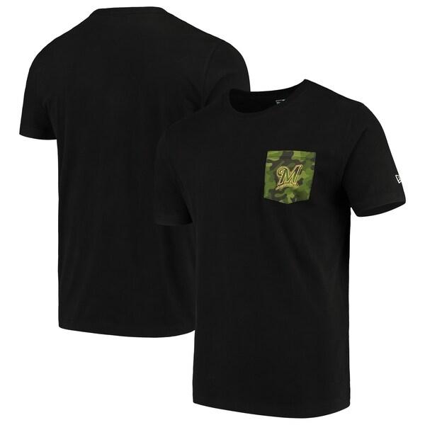 MLB ミルウォーキー・ブリュワーズ Tシャツ Armed Special Forces Camo Pocket T-Shirt ニューエラ/New Era ブラック