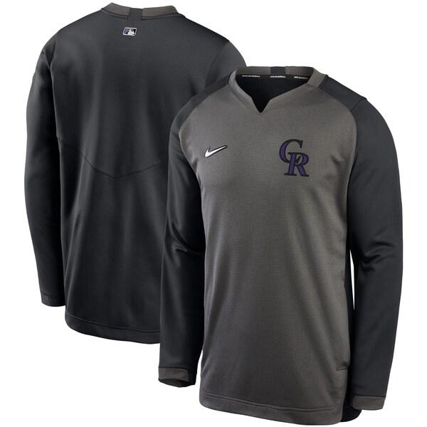 MLB コロラド・ロッキーズ スウェットシャツ/トレーナー Authentic Collection Thermal Crew ナイキ/Nike グレー/ブラック