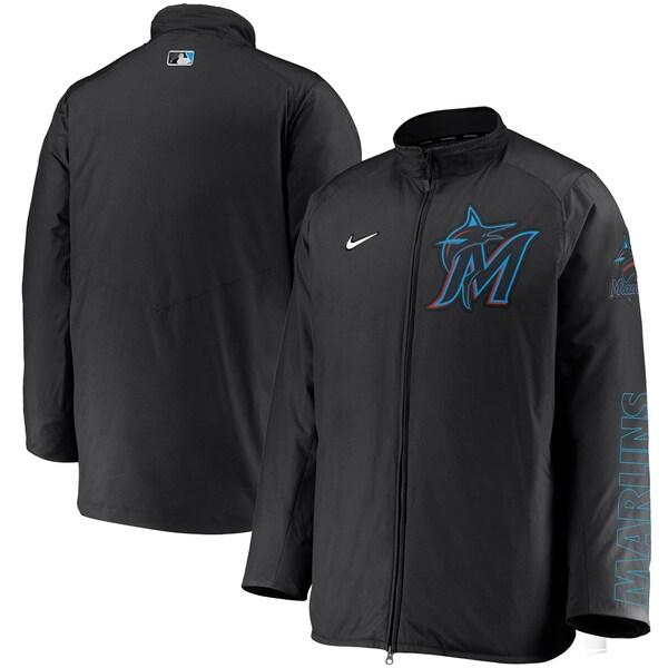MLB マイアミ・マーリンズ ジャケット/アウター Authentic Collection Team Dugout Full-Zip Jacket ナイキ/Nike ブラック