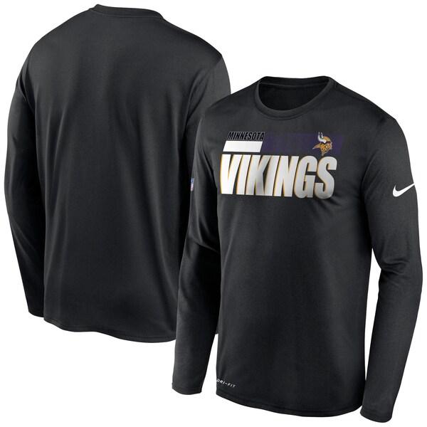 NFL バイキングス Tシャツ サイドライン 選手着用 インパクト ロングスリーブ ナイキ/Nike ブラック