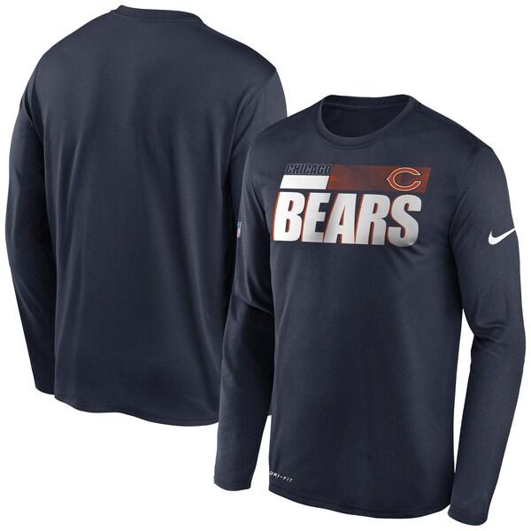 NFL ベアーズ Tシャツ サイドライン 選手着用 インパクト ロングスリーブ ナイキ/Nike ネイビー