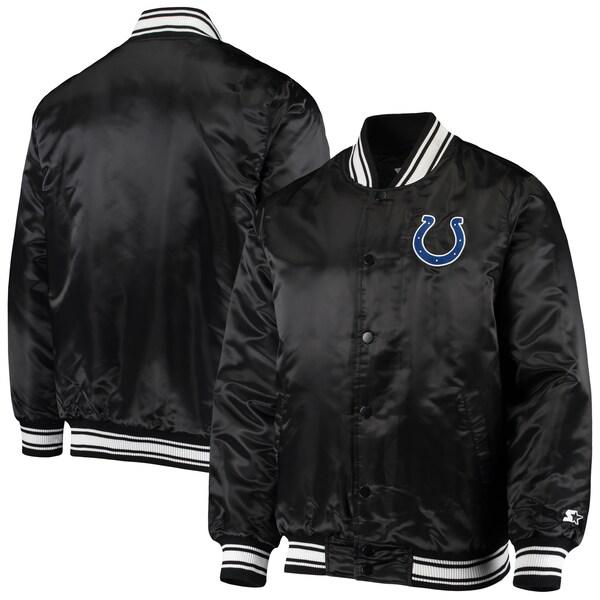 コルツ スタジャン スターター NFL ロッカールーム サテンジャケット アウター STARTER ブラック