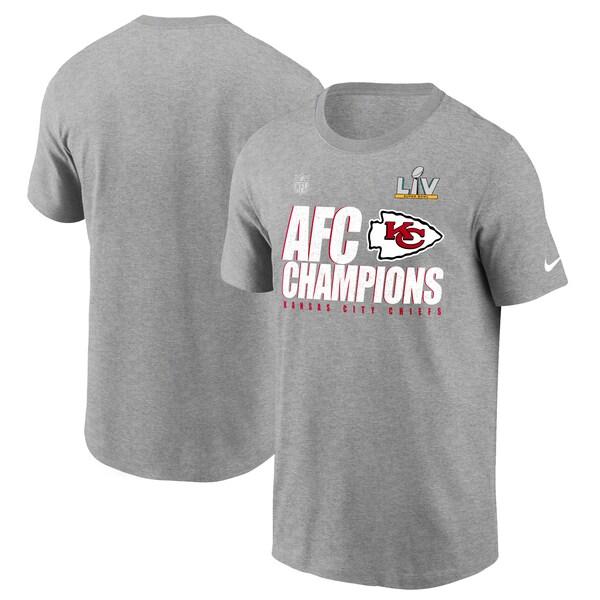 2020AFCカンファレンス優勝記念アイテム NFL Tシャツ チーフス 2020AFC優勝記念 新着セール ナイキ Nike 買取 メンズ Locker SB55 Room ヘザーグレー tシャツ 半袖