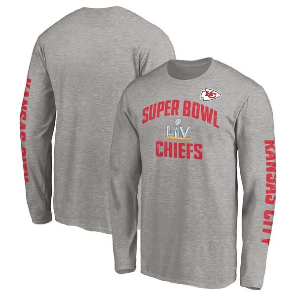 第55回スーパーボウル進出記念アイテム NFL Tシャツ チーフス 第55回スーパーボウル記念 ヘザーグレー 卓越 メンズ tシャツ 長袖 SB55 2-Hit ロンT Replay ロンt 送料無料