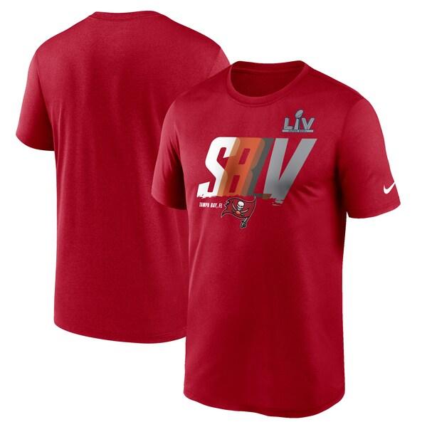 第55回スーパーボウル進出記念アイテム NFL Tシャツ バッカニアーズ 第55回スーパーボウル記念 ナイキ Nike SB55 レッド メンズ 現品 Lockup Logo tシャツ 半袖 海外限定