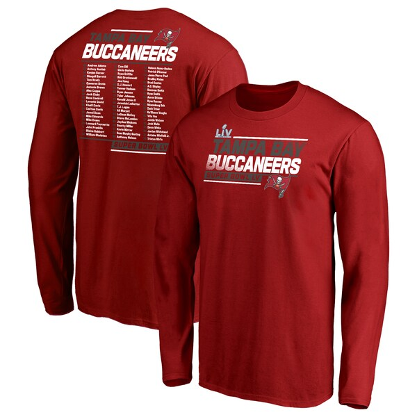 第55回スーパーボウル進出記念アイテム NFL Tシャツ 高い素材 バッカニアーズ 第55回スーパーボウル記念 レッド メンズ 未使用 tシャツ ロンT Roster 長袖 ロンt Action Play SB55