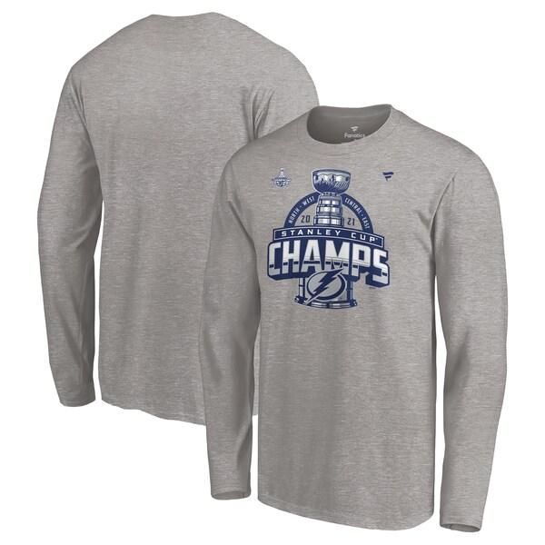2021NHLスタンレーカップ優勝 送料無料新品 ロッカールームTEE 上質 NHL ライトニング Tシャツ スタンレーカップ2021 優勝記念 ロッカールーム Long Sleeve