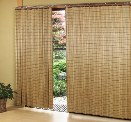 《日本製》 光触媒加工ウッドカーテン 1000x1750mm ブラウン A-107(日除け、間仕切り、スクリーン、目隠し効果、すだれ)