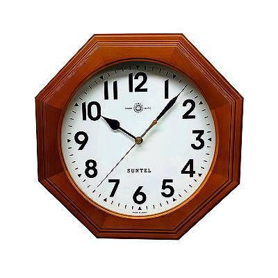 さんてる 日本製 天然木シンプル8角電波掛け時計 ブラウン (アラビア文字) SR15BR-A 【送料無料】 (掛時計、掛け時計、インテリアクロック)