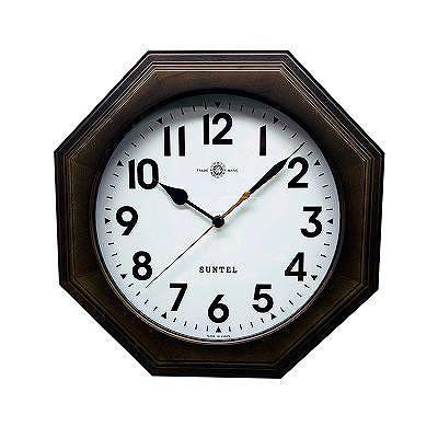 さんてる 日本製 天然木シンプル8角電波掛け時計 ブラック (アラビア文字) SR16DBK-A 【送料無料】 (掛時計、掛け時計、インテリアクロック)