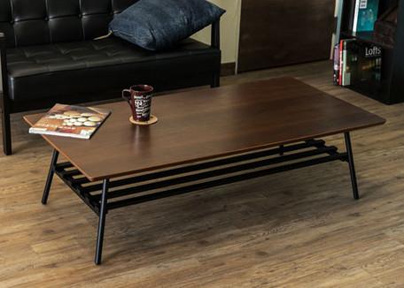 【離島・日時指定不可】ウォールナット(4月上旬入荷予定) 棚付き折れ脚テーブルLuster120【送料無料】(座卓、ローテーブル、センターテーブル、木製テーブル)