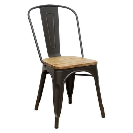 ≪沖縄・離島へは配達できません。≫(納期1週間程度)メタルチェア BR/WOOD ブラウン/ウッドトップ(3MC080) 1脚【送料無料】(スツール、イス、椅子、いす)