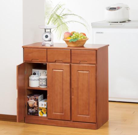 天然木カウンターワゴン 3枚扉 ブラウン(0254510)/ ホワイト(0254520) 【送料無料】(カウンターテーブル、キッチンワゴン、食器棚、キッチン収納家具)