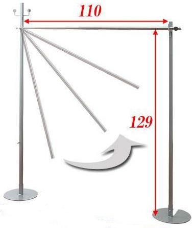 2WAYハンガー&物干し シングルタイプ 【機能的】 nj-0220【送料無料】(収納家具、服吊り、ハンガー、ポールハンガー、クローゼット、室内物干し)