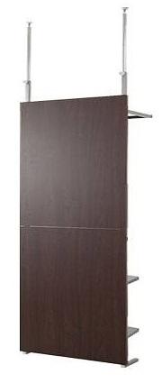 ワードローブ) 薄型 DIY nj-0427【送料無料】(つっぱり 突っ張り間仕切りクローゼットパーテーション+棚収納 壁面 幅90cm