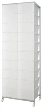 大量収納プラスチックチェスト 2列×10段 ブラウン色 nj-0394【送料無料】(収納家具、チェスト、キャビネット、リビング収納家具)
