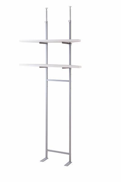 デザインが人気。 突っ張り壁面収納 無段階調整2枚棚コーナーラック 幅90cm ホワイト色【送料無料】(壁面収納、つっぱり、シェルフ、棚、薄型)