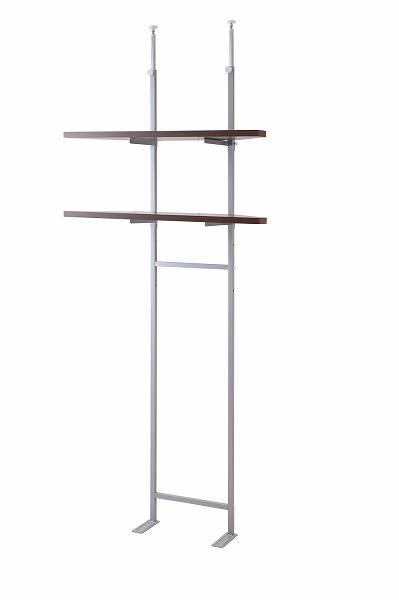 突っ張り壁面収納 無段階調整2枚棚コーナーラック 幅90cm ブラウン色【送料無料】(壁面収納、つっぱり、シェルフ、棚、薄型)