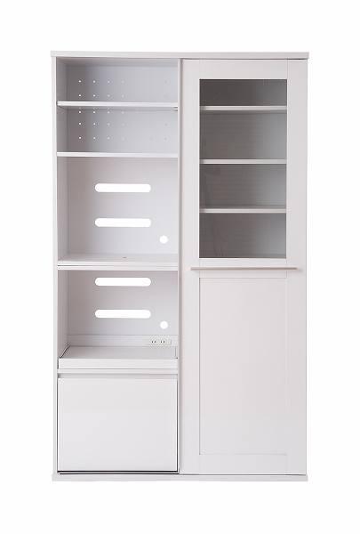 キッチンシリーズFace 引き戸式レンジ幅105cm ホワイト【送料無料】(食器棚、レンジボード、キッチン収納家具)