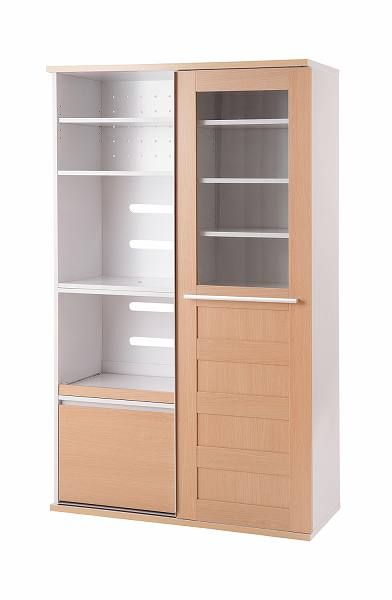 キッチンシリーズFace 引き戸式レンジ幅105cm ナチュラル【送料無料】(食器棚、レンジボード、キッチン収納家具)