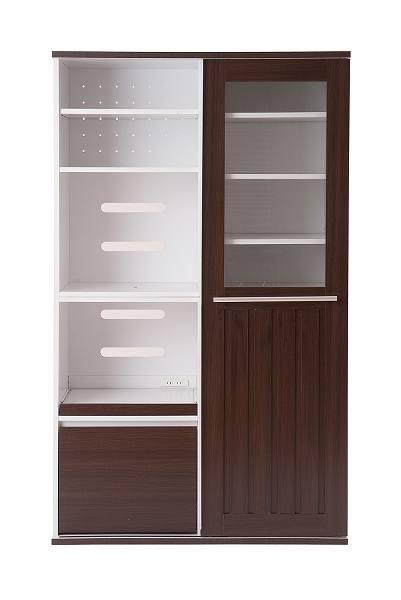 キッチンシリーズFace 引き戸式レンジ幅105cm ダークブラウン【送料無料】(食器棚、レンジボード、キッチン収納家具)