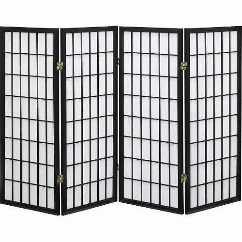 障子4連スクリーン ブラック SKR-370BK 【送料無料】(スクリーン、衝立、パーティーション、間仕切り)